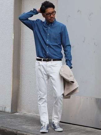 Skull Rivet White Jeans