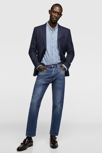 Dark Brown Leather Double Monks Outfits: Rock a navy blazer with blue jeans to pull together an interesting and well-executed ensemble. Hesitant about how to finish this outfit? Rock dark brown leather double monks to ramp up the fashion factor.