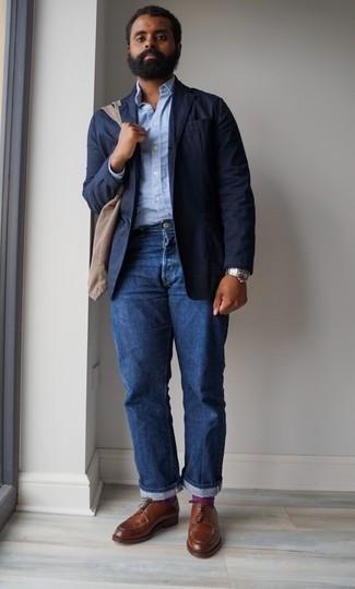 Men's Navy Blazer, Light Blue Long Sleeve Shirt, Blue Jeans, Brown Leather Derby Shoes