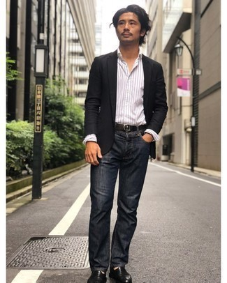 Black Canvas Belt Outfits For Men: If the situation allows casual city dressing, choose a black blazer and a black canvas belt. Black leather loafers are a guaranteed way to bring a dose of sophistication to your outfit.