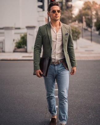 Loafers Outfits For Men: An olive blazer and light blue jeans are among the fundamental elements in any guy's functional closet. Introduce a pair of loafers to the mix for an instant style fix.