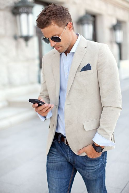 Men's Beige Linen Blazer, Light Blue Long Sleeve Shirt, Blue Jeans ...