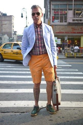 Nick Wooster wearing Light Blue Blazer, Multi colored Plaid Long Sleeve Shirt, Orange Shorts, Dark Green Leather Derby Shoes