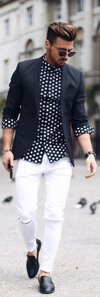 How to wear: black blazer, black and white star print long sleeve shirt, white ripped skinny jeans, black leather loafers