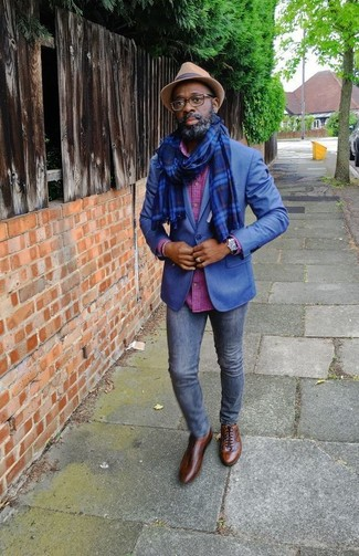 How to wear: blue blazer, hot pink check long sleeve shirt, navy skinny jeans, brown leather oxford shoes