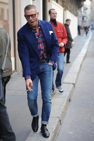 How to wear: blue blazer, red and navy plaid long sleeve shirt, blue skinny jeans, black leather loafers