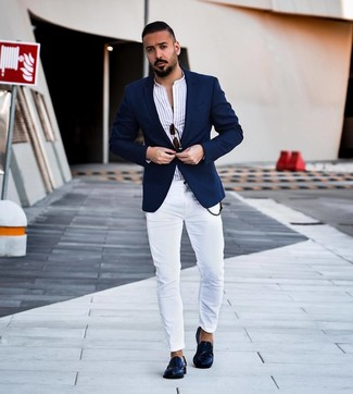 How to wear: navy blazer, white vertical striped long sleeve shirt, white skinny jeans, navy leather loafers