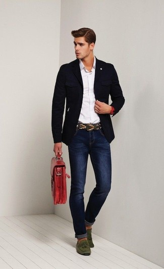 How to wear: navy blazer, white long sleeve shirt, navy skinny jeans, olive suede tassel loafers
