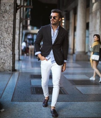 Dark Green Sunglasses Outfits For Men: For a casual and cool outfit, pair a black blazer with dark green sunglasses — these two items fit really well together. Dark brown leather loafers are the simplest way to bring an extra dose of class to this ensemble.