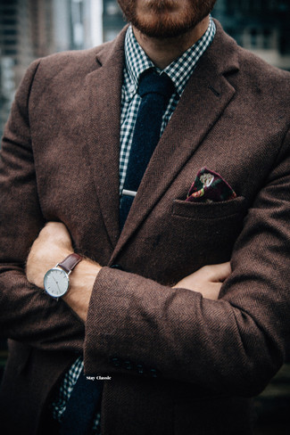 How to wear: brown herringbone wool blazer, white and navy gingham long sleeve shirt, navy knit tie, burgundy floral pocket square