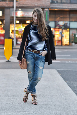 How to wear: black blazer, navy and white horizontal striped long sleeve t-shirt, blue ripped boyfriend jeans, dark brown leather gladiator sandals