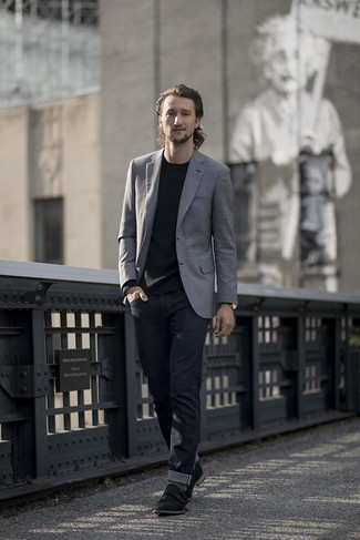 How to wear: grey blazer, black long sleeve t-shirt, navy jeans, black suede double monks
