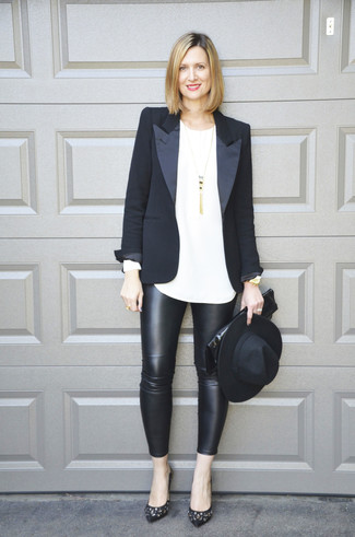 How to wear: black blazer, white long sleeve t-shirt, black leather leggings, black embellished leather pumps