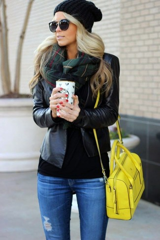 Consider wearing a black leather blazer jacket and blue distressed slim jeans to create a chic, glamorous look. It's is a great pick if you're picking out a knockout getup for unpredictable fall weather.