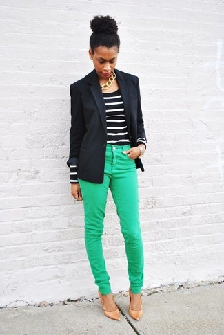 Black Long Sleeve T-shirt Outfits For Women: For an ensemble that's extremely easy but can be modified in a myriad of different ways, wear a black long sleeve t-shirt with green skinny jeans. For something more on the classy end to complete your ensemble, complement your ensemble with a pair of tan leather pumps.