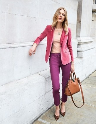 How to wear: hot pink velvet blazer, pink long sleeve t-shirt, purple skinny pants, brown leopard suede pumps