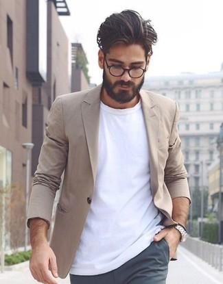 a9ee7281c8eb4 Moda para Hombres › Moda para hombres de 30 años Look de moda  Blazer de  algodón marrón claro