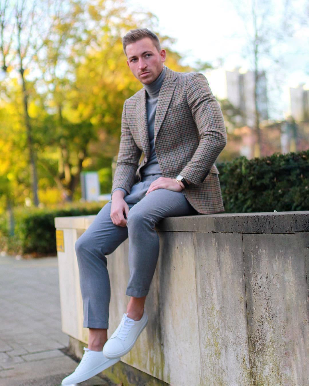 A Blazer Marrón Cuello De Cuadros Look Moda Jersey Gris Alto 7qxSgw4Av 123fef0af7ad