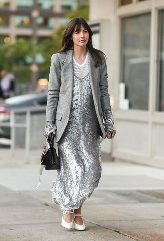 How to wear: grey wool blazer, silver sequin maxi dress, white mesh crew-neck t-shirt, white leather pumps
