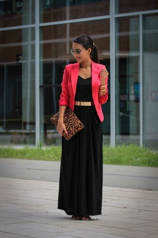 How to Wear a Hot Pink Blazer For Women: A hot pink blazer and a black maxi dress paired together are a total eye candy for women who prefer cool chic looks. Complement your outfit with a pair of gold leather flat sandals to make a mostly dressed-up getup feel suddenly edgier.