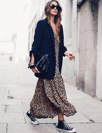 How to Wear a Black Leather Satchel Bag: If you're after a relaxed casual yet chic ensemble, wear a black blazer and a black leather satchel bag. Black and white canvas high top sneakers integrate really well within plenty of ensembles.