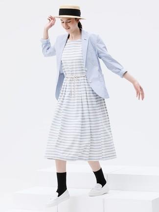 How to wear: light blue blazer, white horizontal striped midi dress, white leather loafers, khaki straw hat