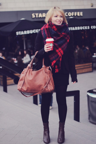 How to wear: black blazer, black mini skirt, dark brown leather ankle boots, brown leather tote bag
