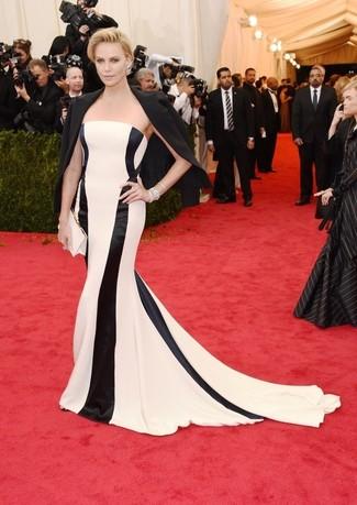 Blazer noir robe de soiree a rayures verticales blanche et noire pochette en satin blanche large 2265