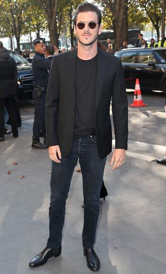 Blazer noir t shirt a col rond noir jean noir large 21930