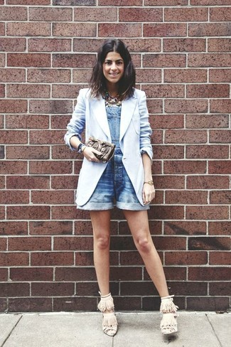 How to wear: light blue blazer, blue denim overall shorts, beige fringe suede heeled sandals, multi colored necklace
