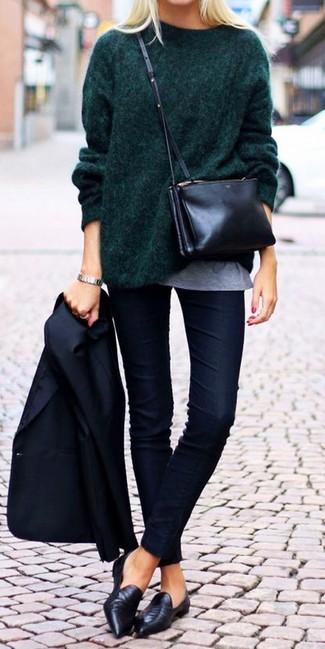 How to wear: navy blazer, dark green oversized sweater, grey crew-neck t-shirt, navy skinny jeans