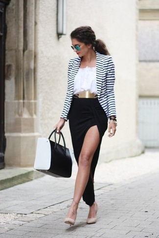 How to wear: white and navy horizontal striped blazer, white peasant blouse, black slit maxi skirt, beige studded leather pumps