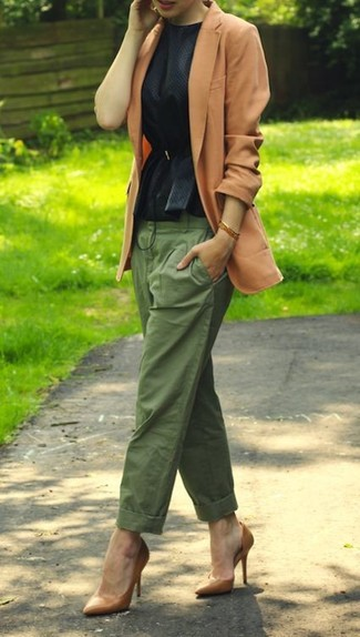 How to wear: tan blazer, black peplum top, olive chinos, tan leather pumps