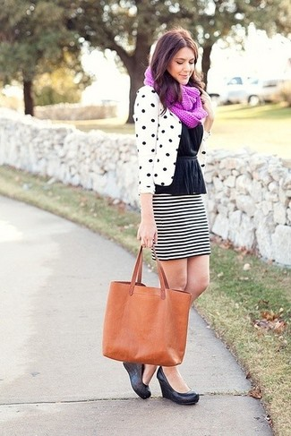 How to wear: white and black polka dot blazer, black peplum top, white and black horizontal striped mini skirt, black leather wedge pumps
