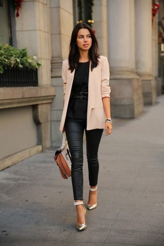 Wear a beige jacket with black leather slim jeans for a Sunday lunch with friends. For footwear go down the classic route with gold leather pumps.