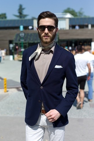 How to wear: navy blazer, grey polo, white chinos, light blue pocket square