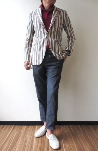 How to wear: multi colored vertical striped cotton blazer, burgundy polo, charcoal chinos, white suede loafers