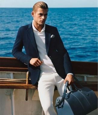Men's Black Blazer, White Polo, White Chinos, Navy Leather Holdall
