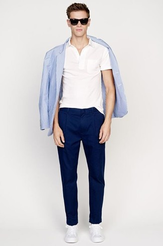 Men's Light Blue Vertical Striped Blazer, White Polo, Navy Chinos, White Low Top Sneakers