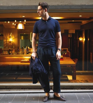 How to wear: navy blazer, navy polo, navy linen chinos, dark brown leather tassel loafers