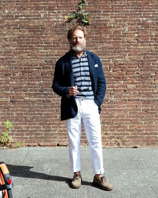 How to Wear White Chinos: Pair a navy linen blazer with white chinos to assemble a casually stylish and modern-looking ensemble. You could take a classier route on the shoe front by wearing beige suede brogues.