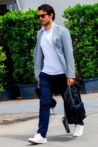 How to Wear a White Gingham Blazer For Men: Pair a white gingham blazer with navy chinos and you'll ooze manly sophistication and polish. White leather low top sneakers will give an easy-going feel to an otherwise traditional outfit.