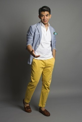 White Polo Outfits For Men: Wear a white polo with mustard chinos for a casually edgy and fashionable ensemble. To introduce some extra fanciness to this ensemble, introduce a pair of brown leather loafers to the equation.
