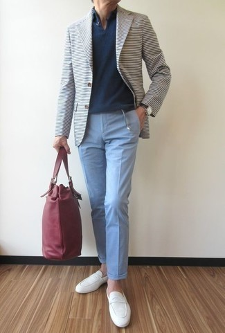 Black Leather Watch Outfits For Men: To create a relaxed casual look with a city style take, dress in a white horizontal striped blazer and a black leather watch. Add a pair of white canvas loafers to the equation to easily up the fashion factor of your outfit.