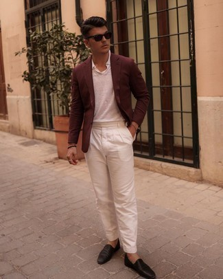 Burgundy Blazer Outfits For Men: The go-to for casually smart menswear style? A burgundy blazer with white chinos. Finishing with dark brown leather loafers is an easy way to inject an added touch of style into this ensemble.