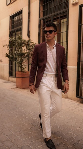 Burgundy Blazer Outfits For Men: Such pieces as a burgundy blazer and white chinos are the perfect way to inject extra class into your day-to-day off-duty arsenal. For a classier vibe, add dark brown leather loafers to this ensemble.