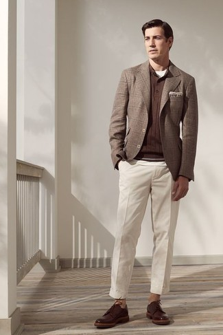 Dark Brown Leather Derby Shoes Outfits: This combo of a brown plaid blazer and white dress pants is truly smart and creates instant appeal. Complement your outfit with dark brown leather derby shoes to tie the whole look together.