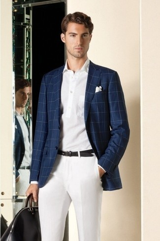 How to Wear a White and Navy Polo For Men: Team a white and navy polo with white dress pants to put together a proper and refined outfit.