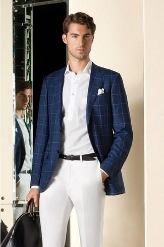 Men's Navy Plaid Blazer, White Polo, White Dress Pants, White Pocket Square