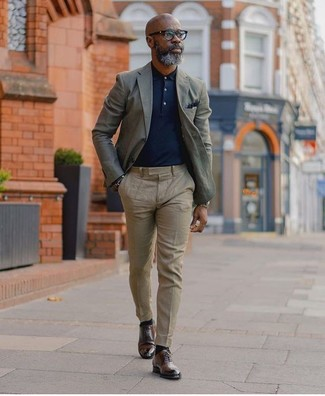 How to wear: grey blazer, navy polo, beige dress pants, dark brown leather derby shoes